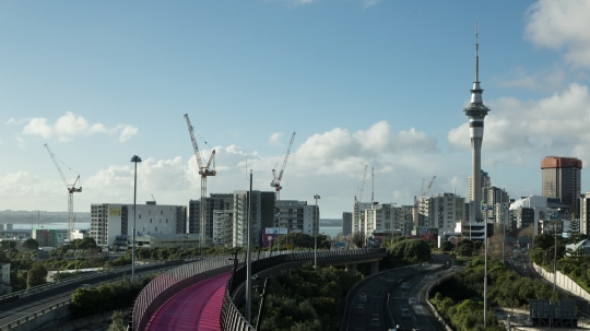 TL / WS / Cranes on Auckland City skyline - stock video